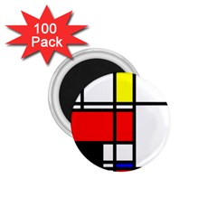 Mondrian 1 75  Button Magnet (100 Pack)