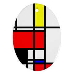 Mondrian Oval Ornament (two Sides) by Siebenhuehner