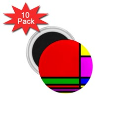 Mondrian 1 75  Button Magnet (10 Pack) by Siebenhuehner