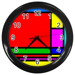 Mondrian Wall Clock (black) by Siebenhuehner