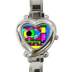 Mondrian Heart Italian Charm Watch  by Siebenhuehner