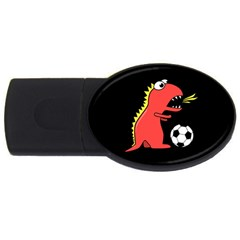 Black Cartoon Dinosaur Soccer 2gb Usb Flash Drive (oval) by CreaturesStore