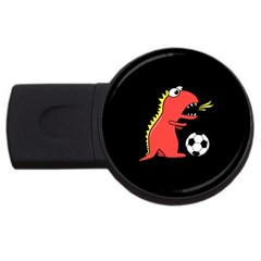 Black Cartoon Dinosaur Soccer 4gb Usb Flash Drive (round) by CreaturesStore