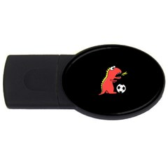 Black Cartoon Dinosaur Soccer 4gb Usb Flash Drive (oval) by CreaturesStore