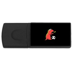 Black Cartoon Dinosaur Soccer 4gb Usb Flash Drive (rectangle) by CreaturesStore