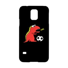 Black Cartoon Dinosaur Soccer Samsung Galaxy S5 Hardshell Case  by CreaturesStore