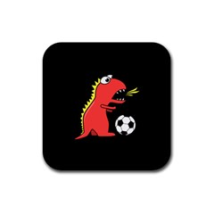 Black Cartoon Dinosaur Soccer Drink Coaster (square) by CreaturesStore
