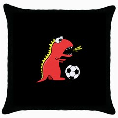 Black Cartoon Dinosaur Soccer Black Throw Pillow Case by CreaturesStore