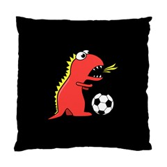 Black Cartoon Dinosaur Soccer Cushion Case (two Sided)  by CreaturesStore