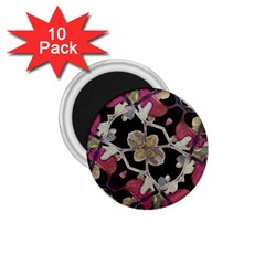Floral Arabesque Decorative Artwork 1 75  Button Magnet (10 Pack) by dflcprints