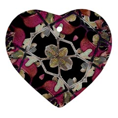 Floral Arabesque Decorative Artwork Heart Ornament (two Sides) by dflcprints