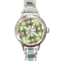 Neo Noveau Style Background Pattern Round Italian Charm Watch by dflcprints