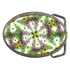 Neo Noveau Style Background Pattern Belt Buckle (oval) by dflcprints