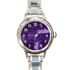 Pretty Purple Patchwork Round Italian Charm Watch