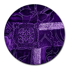 Pretty Purple Patchwork 8  Mouse Pad (round) by FunWithFibro