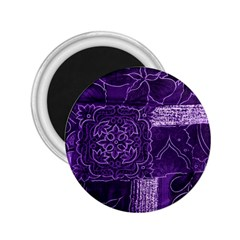 Pretty Purple Patchwork 2 25  Button Magnet by FunWithFibro
