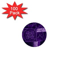 Pretty Purple Patchwork 1  Mini Button (100 Pack) by FunWithFibro
