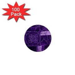 Pretty Purple Patchwork 1  Mini Button Magnet (100 Pack) by FunWithFibro