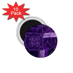 Pretty Purple Patchwork 1 75  Button Magnet (10 Pack) by FunWithFibro