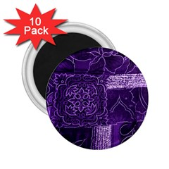 Pretty Purple Patchwork 2 25  Button Magnet (10 Pack) by FunWithFibro
