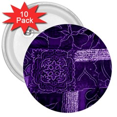 Pretty Purple Patchwork 3  Button (10 Pack) by FunWithFibro