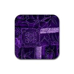 Pretty Purple Patchwork Drink Coaster (square) by FunWithFibro