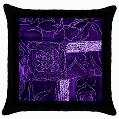 Pretty Purple Patchwork Black Throw Pillow Case by FunWithFibro