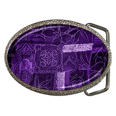 Pretty Purple Patchwork Belt Buckle (oval) by FunWithFibro