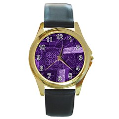 Pretty Purple Patchwork Round Leather Watch (gold Rim)  by FunWithFibro