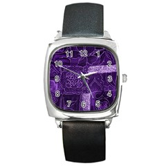Pretty Purple Patchwork Square Leather Watch by FunWithFibro