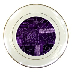 Pretty Purple Patchwork Porcelain Display Plate by FunWithFibro
