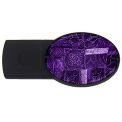 Pretty Purple Patchwork 4gb Usb Flash Drive (oval) by FunWithFibro