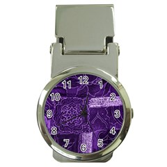 Pretty Purple Patchwork Money Clip With Watch by FunWithFibro