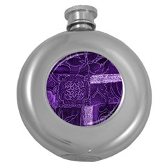 Pretty Purple Patchwork Hip Flask (round) by FunWithFibro
