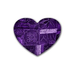Pretty Purple Patchwork Drink Coasters 4 Pack (heart)  by FunWithFibro