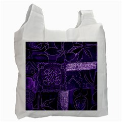 Pretty Purple Patchwork White Reusable Bag (one Side) by FunWithFibro