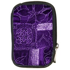 Pretty Purple Patchwork Compact Camera Leather Case by FunWithFibro