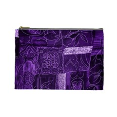 Pretty Purple Patchwork Cosmetic Bag (large) by FunWithFibro