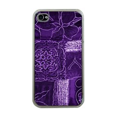 Pretty Purple Patchwork Apple Iphone 4 Case (clear) by FunWithFibro