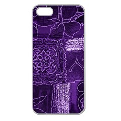 Pretty Purple Patchwork Apple Seamless Iphone 5 Case (clear) by FunWithFibro
