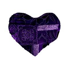 Pretty Purple Patchwork 16  Premium Heart Shape Cushion  by FunWithFibro