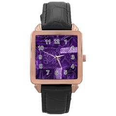 Pretty Purple Patchwork Rose Gold Leather Watch  by FunWithFibro