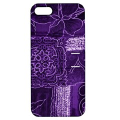 Pretty Purple Patchwork Apple Iphone 5 Hardshell Case With Stand by FunWithFibro