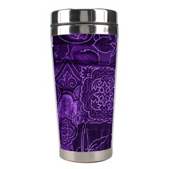 Pretty Purple Patchwork Stainless Steel Travel Tumbler by FunWithFibro