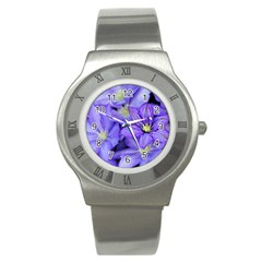 Purple Wildflowers For Fms Stainless Steel Watch (slim) by FunWithFibro