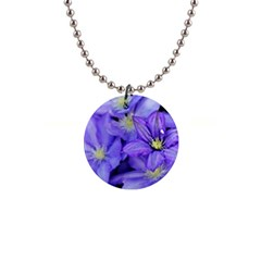 Purple Wildflowers For Fms Button Necklace by FunWithFibro
