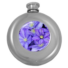 Purple Wildflowers For Fms Hip Flask (round) by FunWithFibro