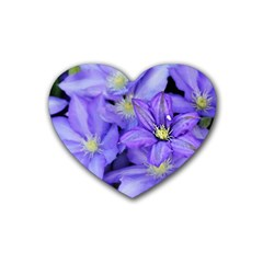 Purple Wildflowers For Fms Drink Coasters 4 Pack (heart)  by FunWithFibro