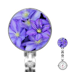 Purple Wildflowers For Fms Stainless Steel Nurses Watch by FunWithFibro