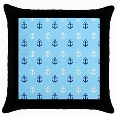 Anchors In Blue And White Black Throw Pillow Case by StuffOrSomething